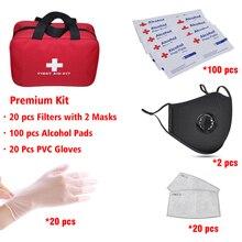 להגן על ערכת 20 PCS Fitlers אופנה רחיץ אבק מסכות עם שסתום חד פעמי PVC Golves אלכוהול חיטוי רפידות הכנת