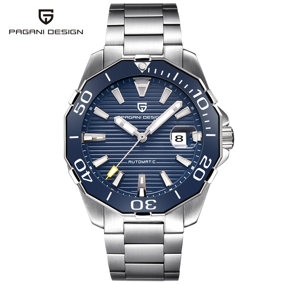 2019 New Brand PAGANI DESIGN 1617 Men's Military Sport Mechanical Watches Waterproof Stainless Steel Top Brand Luxury Men Watch