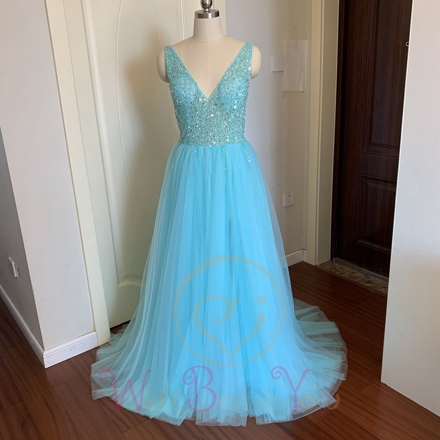 Beading Prom Dresses 2020 Plus Size Pink High Split Tulle Sweep Train Sleeveless Evening Gown A-line Lace Up Backless Vestido De 3