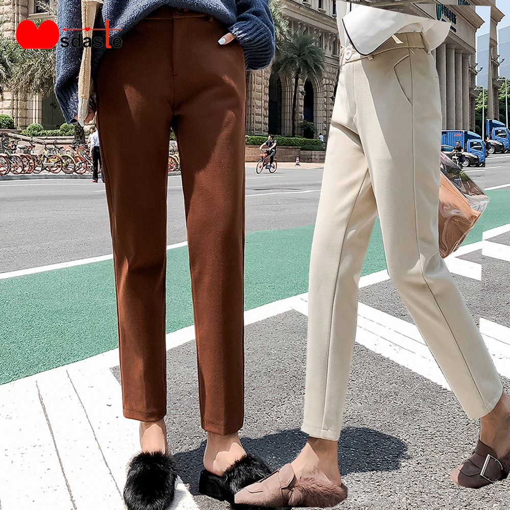 Woolen Harem Pants Women 2019 Winter Thick Elastic High Waist Plus Size Female Casual Trousers Wool Ankle-Length Woman Trousers