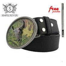 Пояс эллипсиса бык голова пряжки мужские серебро овальной металлической пряжкой Шур для 4см ширина дропшиппинг