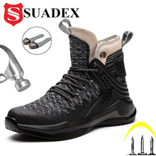 Hiking Boots Shoes SUADEX Safety Steel-Toe Anti-Piercing Men High-Quality Ankle
