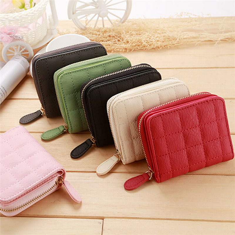 Women Ladies Leather Wallet Zippered Coin Women Ladies Leather Wallet With Zipper Purse Coin Purse Clutch Small Mini Card Holder