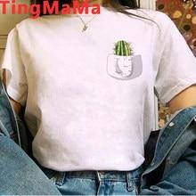 Kawaii Cactus Printed Women's T-Shirt Harajuku Summer Tops Cartoon Don't Touch Me Graphic Tees for Lady Girl Funny Tshirt Female