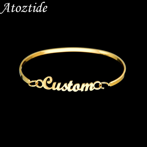 Atoztide 2020 New Personalized Custom Name Bangle For Women stainless Female Personalized Couple Bracelet Gold Jewelry Gift