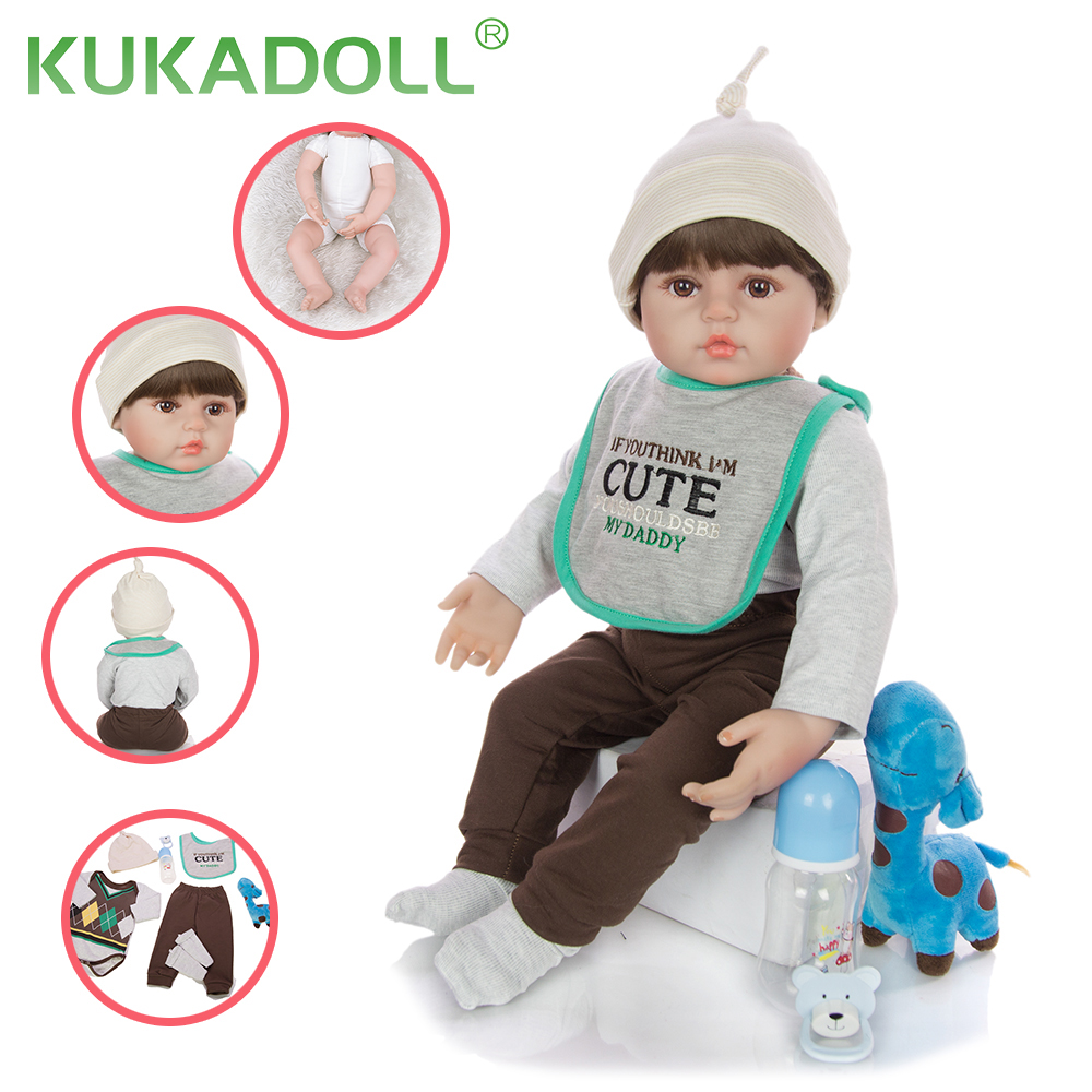 KUKADOLL 24 Inch Reborn Babys Puppe Tuch Körper Baby Rebron Realistische Puppen Für Mädchen Spielzeug Kinder Geburtstag Weihnachten Geschenke Jungen playmate