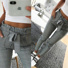 Women Fashion Plaid Pleated High Waist Skinny Pencil Pants Trousers with Sash Pencil Pants Trousers Pencil Pants Trousers women