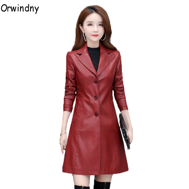 Orwindny Woman   Leather   Trench Plus Size S-4XL Clothing Outwear Spring Autumn Long   Leather   Coat Female Ins Fashion Jackets   Suede