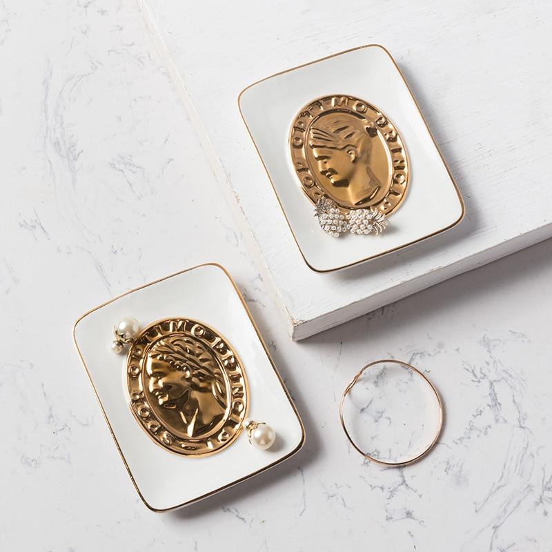 Mode céramique plaque décorative bijoux plateau de rangement or homme femme avatar bijoux plat boucles d'oreilles collier anneau plaques de rangement