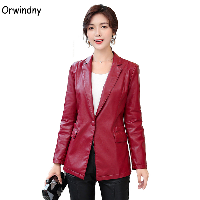 Orwindny Spring Women's   Leather   Clothing Faux   Leather   Blazer Outerwear High Quality Suit Jacket Female Plus Size S-4XL   Suede