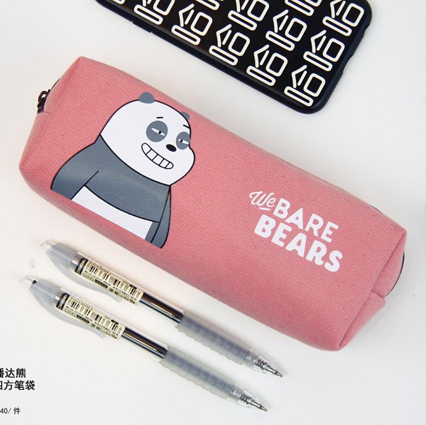 We Bare Bears Pencil Bag Pencil Case Canvas Kawaii Pencil Pouches Student Stationery Cute Cartoon