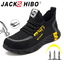 JACKSHIBO Work Safety Shoes For Men Breathable Air Mesh Work Boots Steel Toe Cap Anti Smashing Construction Safety Work Sneakers