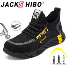 Zapatos de seguridad para el trabajo de JACKSHIBO para hombres, botas de trabajo de malla de aire transpirable, gorra de punta de acero, zapatillas de trabajo de seguridad antigolpes para la construcción