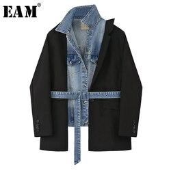 [EAM] Frauen Schwarz Dneim Unregelmäßigen Großen Größe Blazer Neue Revers Lange Hülse Lose Fit Jacke Mode Flut Frühjahr herbst 2020 1X215