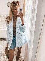 Chaqueta de Tweed azul para mujer, abrigo elegante con cuello vuelto, bolsillos con doble botonadura, prendas de vestir exteriores informales para mujer 2021