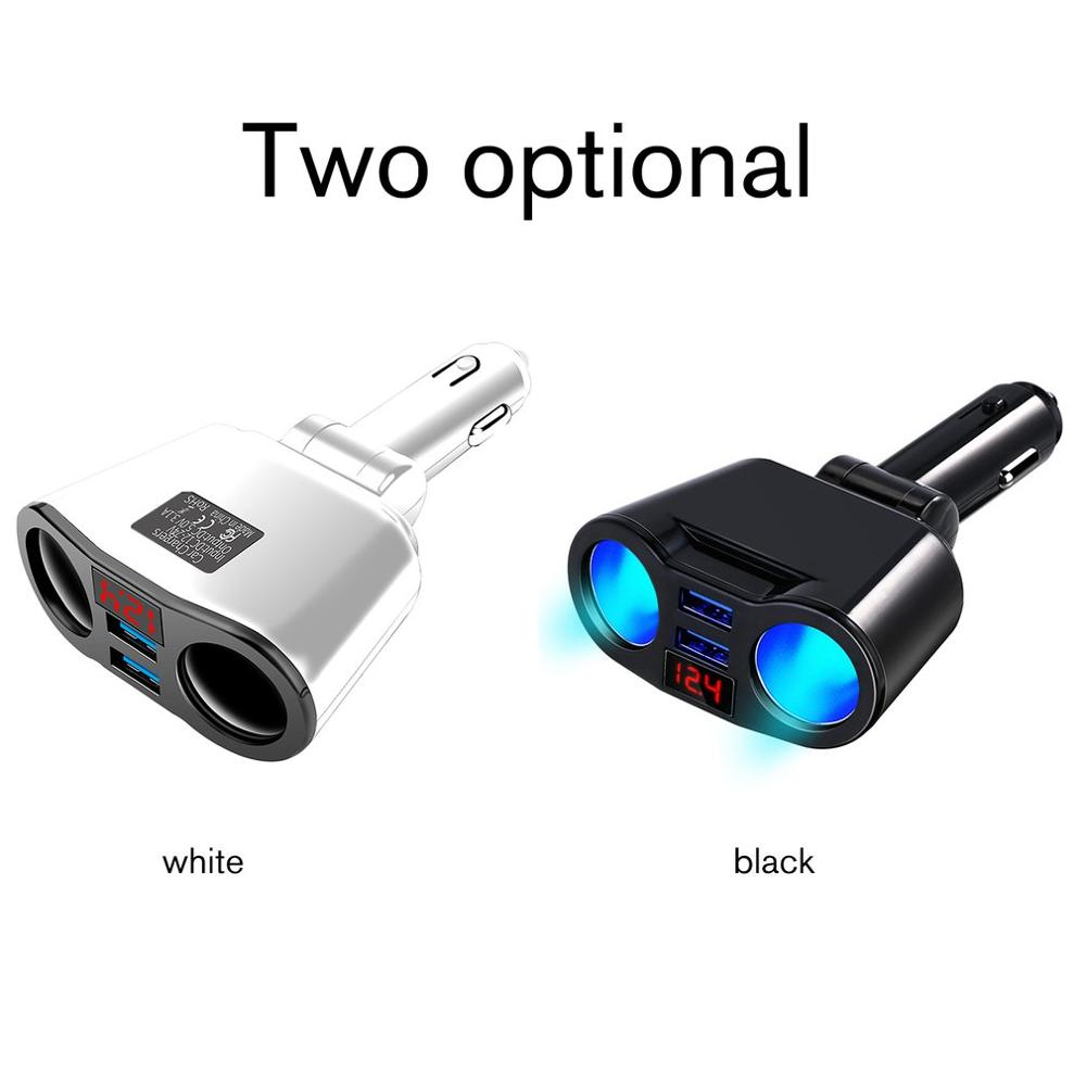 Rotatable Double Cigarette Lighter Dual USB Port Digital Display Car Charger With Led Display Car Fast Charge Charger