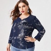 2020 Fall Women Long sleeve Printed T shirt fashion ladies Retro elegant mom clothes Plus Size Womens Tops