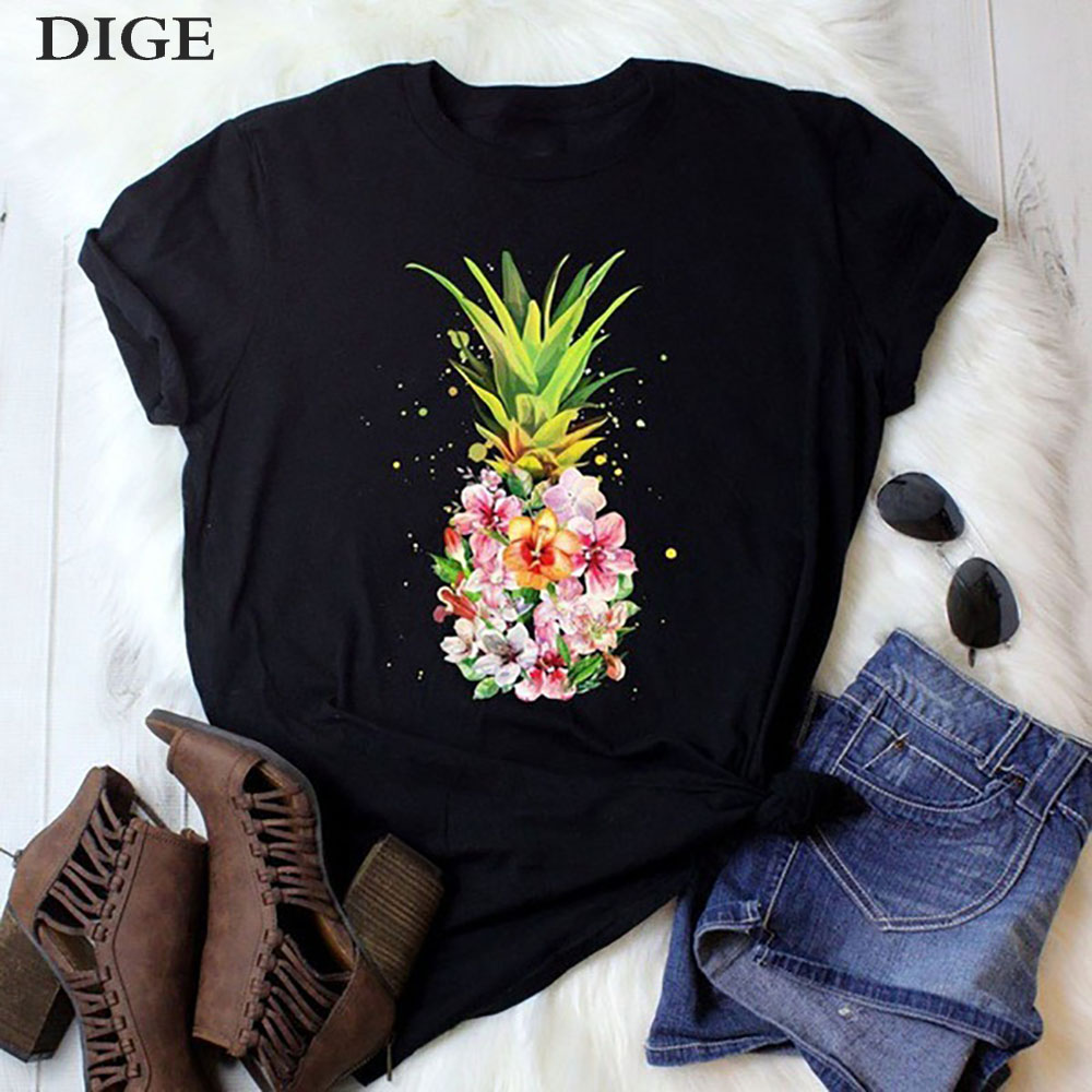 2020 New Women Clothes Abstract Funny T Shirt Aesthetic Print Tshirt Women Leisure Short Sleeve O-neck Tops Fruit T-shirt Tees
