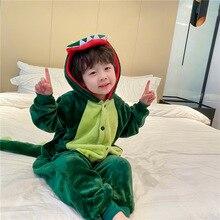 Pajamas Dinosaur Flannel Home-Wear Baby One-Piece Children's Warm Cute Unisex Cartoon