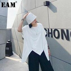 Женская длинная футболка EAM, белая Асимметричная футболка с круглым вырезом и полурукавами, большие размеры, весна-лето 2020, 1U204