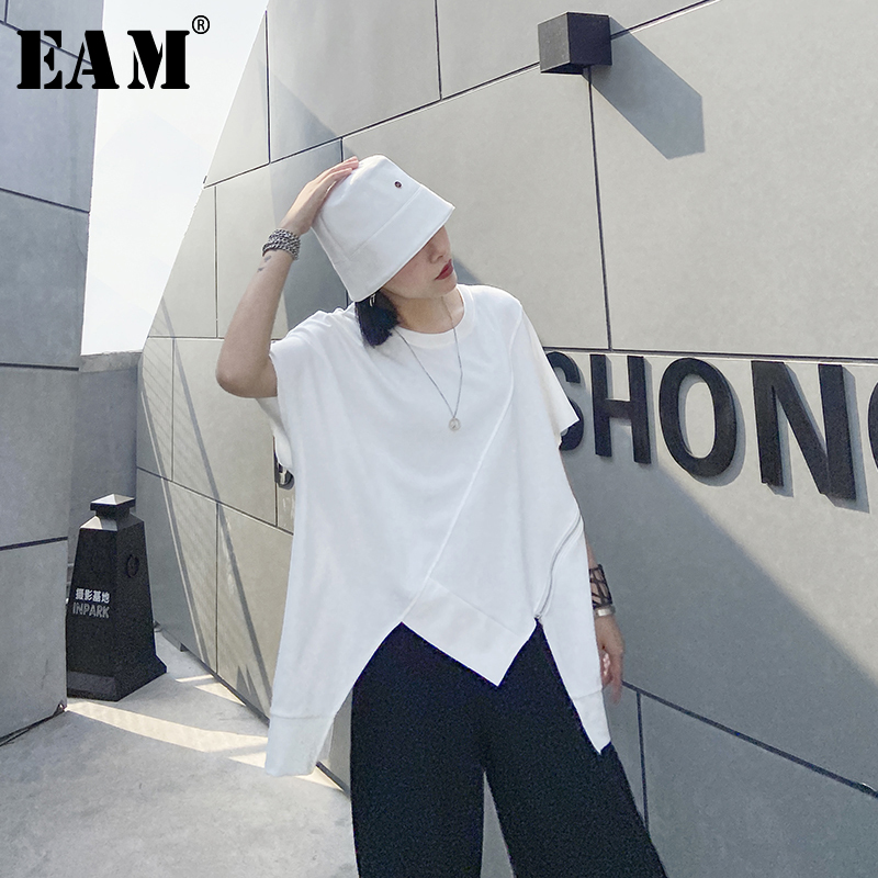 [EAM] Women White Irregular Hem Big Size Long T-shirt New Round Neck Half Sleeve  Fashion Tide  Spring Summer 2020 1U204