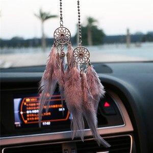 Image 1 - ミニ夢キャッチャー車のペンダント風チャイム羽装飾家の装飾 & 壁掛け装飾手作りドリームキャッチャーギフト