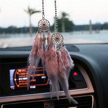 Mini atrapasueños colgante para coche, carillones de viento pluma, decoración para el hogar y adorno para colgar en la pared, regalos hechos a mano de atrapasueños