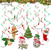 Twins Party Christmas Hanging Swirls Ornaments Merry Decor For Home Pendant Kids Favors Birthday