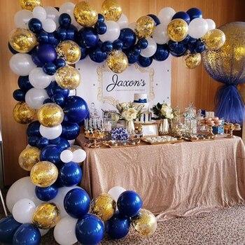 102pcs/lot Navy Blue Gold Metallic Balloon Arch Kit Wedding Birthday Party Macaron Latex Confetti Balloons Garland Decor Balaos