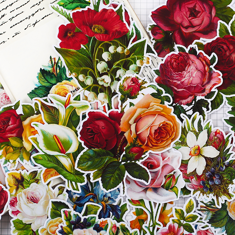Vintage  Victoria Rose Paper Stickers Crafts And Scrapbooking Stickers Book Decorative Sticker DIY Stationery