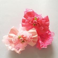 1Pcs/lot Kids Dots Polygon Ribbon Flower Bow Hairbands Girls Rose Elastic Lace Chiffon Hair Bands Headband Satin Floral