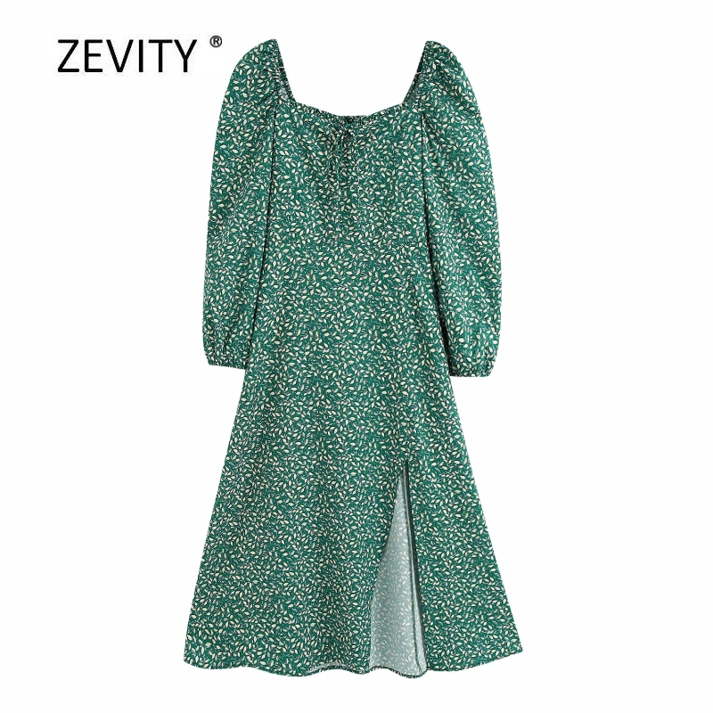new women vintage square collar puff sleeve print split green midi dress female agaric lace bow tied casual slim vestido DS4089