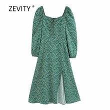 Nova mulher vintage gola quadrada puff manga impressão dividir verde midi vestido feminino laço agaric amarrado casual fino vestido ds4089
