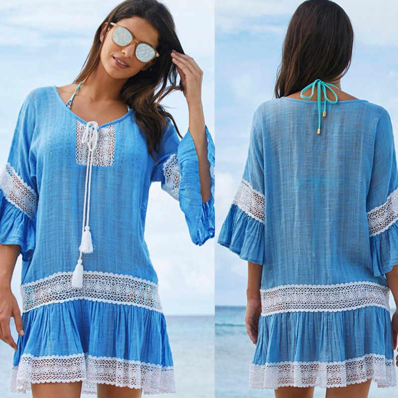 Strand Cover Up Bademode Frauen Abdeckung Ups Spitze Strand Kleid Tunika Quaste Häkeln Badeanzug Abdeckung Ups Pareo De Plage beachwear
