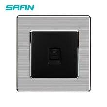SRAN-Marco de Panel de acero inoxidable, estándar General, 86x86mm, enchufe de teléfono de una banda/A101-020 de salida