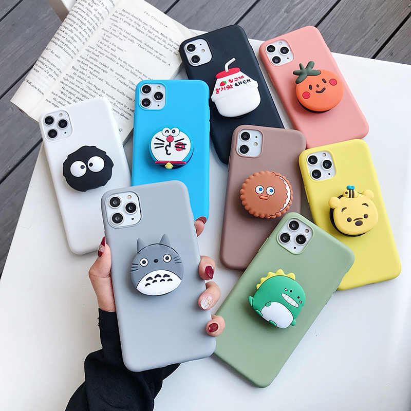 3D Leuke Cartoon Stand Houder Soft Tpu Telefoon Case Voor Huawei P20 P30 Pro P10 Plus Mate 9 10 Lite 20 Pro 20X Soft Silicone Cover