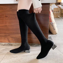 Winter Elastic Boots Women Square Heeled Women Black Pointed Boot Over Knee Boots Womens 35-39(China)