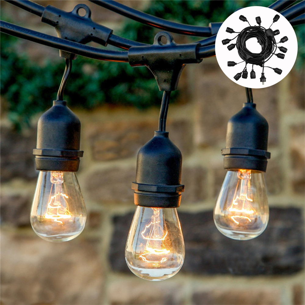 7M Commercial Grade LED String Lights Outdoor Hanging Hood S14 LED Retro Edison Filament Bulb Wedding Holiday Lighting Garland