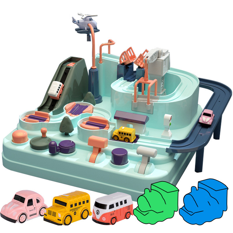 Education Railcar Toy Eco-Friendly Baby Adventure Toy Car Macaron Color Table Games Boy and Girl Puzzle Toys Christmas Gifts