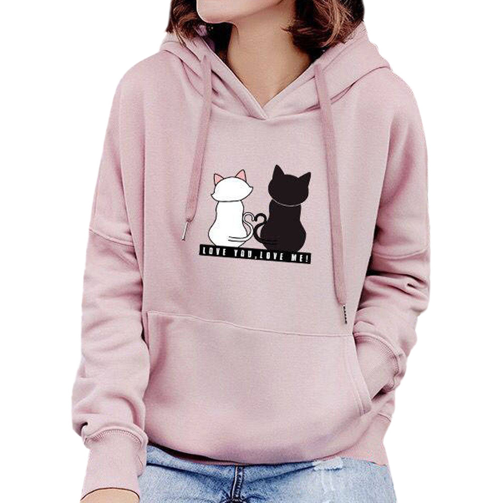 1pc Women Hoodie Cotton Long Sleeve Hoodie Sweatshirt Casual Cotton Hooded Fashion Winter Autumn Tops #YL10