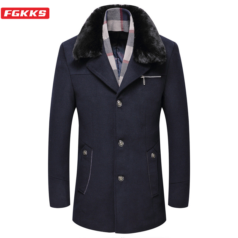 FGKKS Brand Men Wool Blend Coats Winter New Men's Business Casual Fur Collar Overcoat Plus Velvet Thick Wool Coat Male