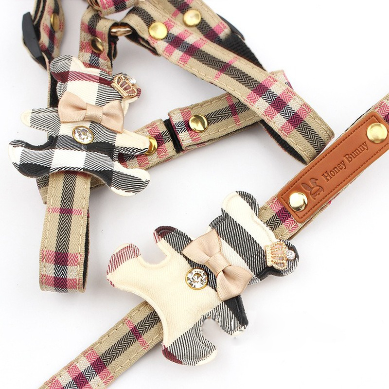 Pet Dog Harness Leash 2 Sets Classic Check Bow Teddy Collar Dog Walking Rope Chain For Small Medium Pet Harness Suit Leash Set 1