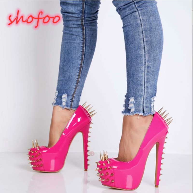 SHOFOO Shoes,Novelty Fashion Women's Shoes ,patent Leather, 14.5cm High-heeled Women's Shoes, Women's Shoes, Round Toe Pumps.