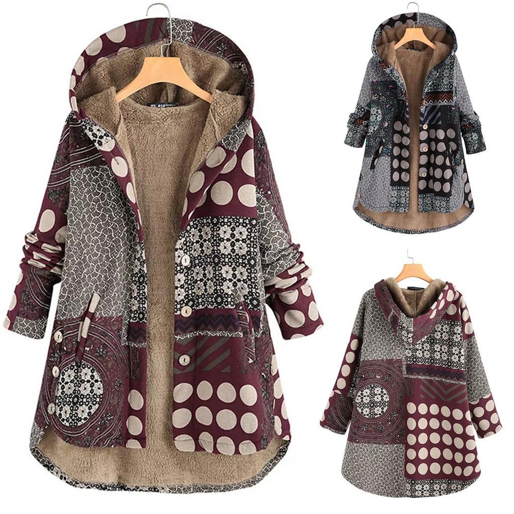 Женские повседневные парки с цветочным принтом, теплое флисовое пальто с капюшоном, женское осеннее тонкое пальто размера плюс с карманами, длинная верхняя одежда|Парки|   | АлиЭкспресс