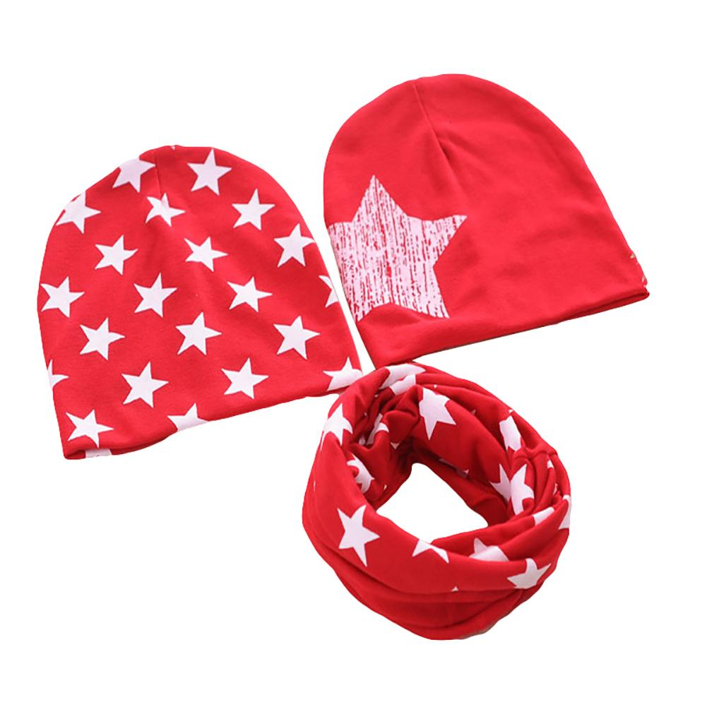3Pcs Kids Boys Girls Star Print Beanie Caps Scarf Sets Autumn Winter Crochet Baby Infant Hat For Children