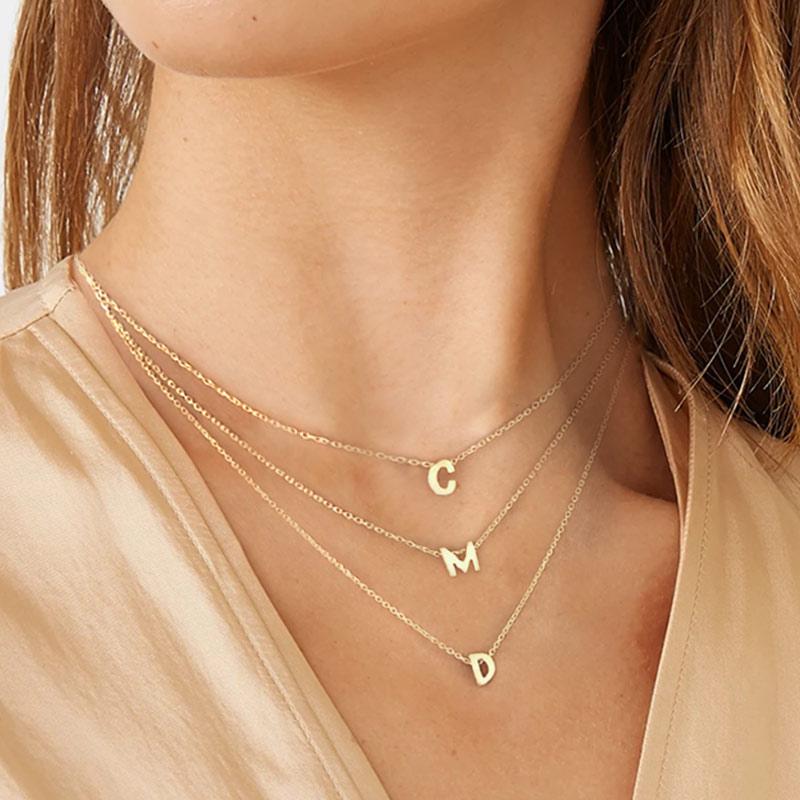 Silver 26 Letter Round Choker Necklace   -  1mrk.com