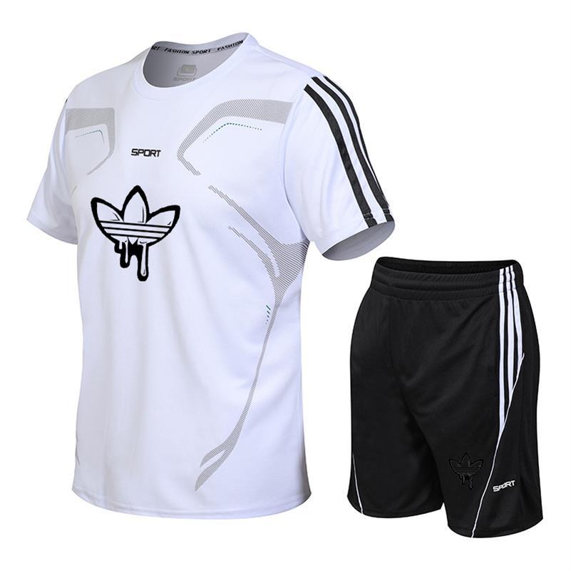 Plus Quick Dry Rashgard Gym T Shirt Sport Shirt Men Short Sleeve Fitness T-shirt And Shorts Sports Suit Soccer Basketball Jersey