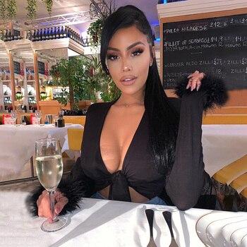 Σέξι Μπλούζα Με Μακρύ Μανίκι Με Δέσιμο Μπροστά στο Στήθος Ερωτικά Προκλητική Γυναικείες Μπλούζες Ρούχα MSOW