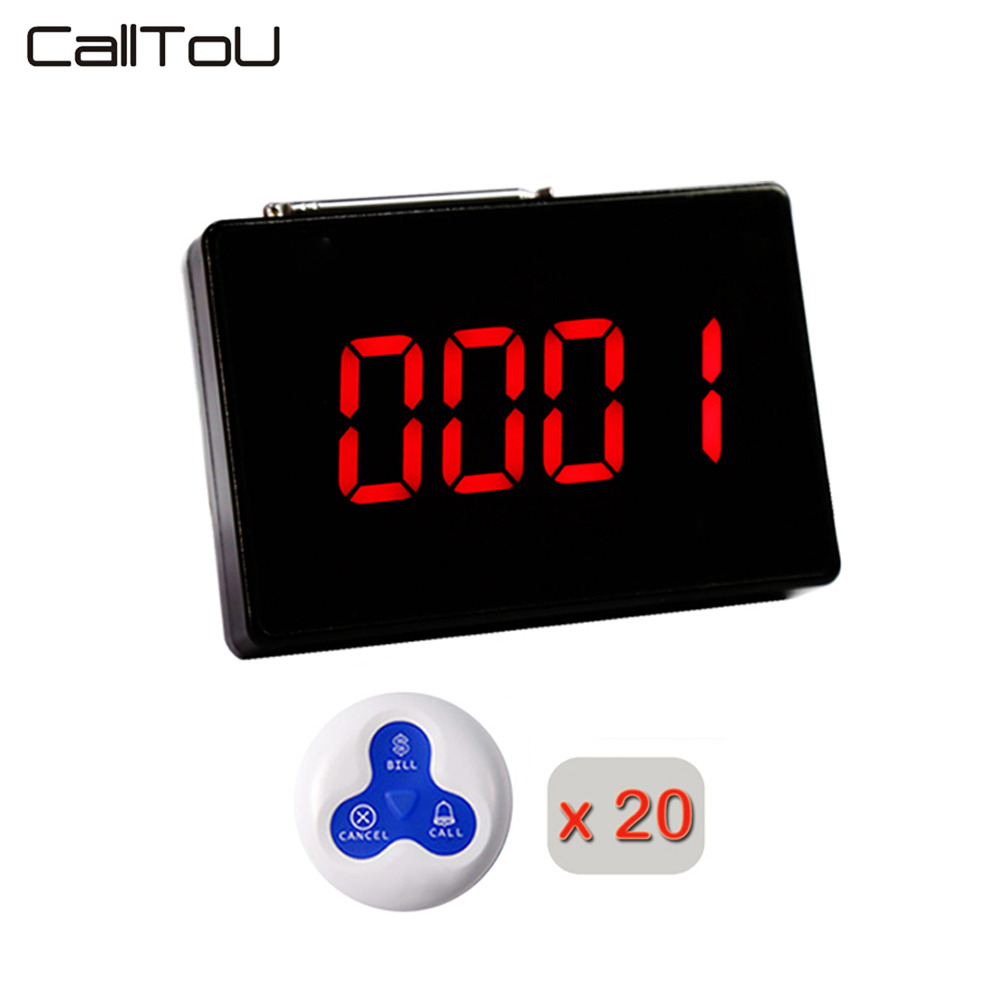 CallTou Queue Wireless Calling System Call Button Waterproof 1PCS Panel Display 20PCS Call Button 433MHZ