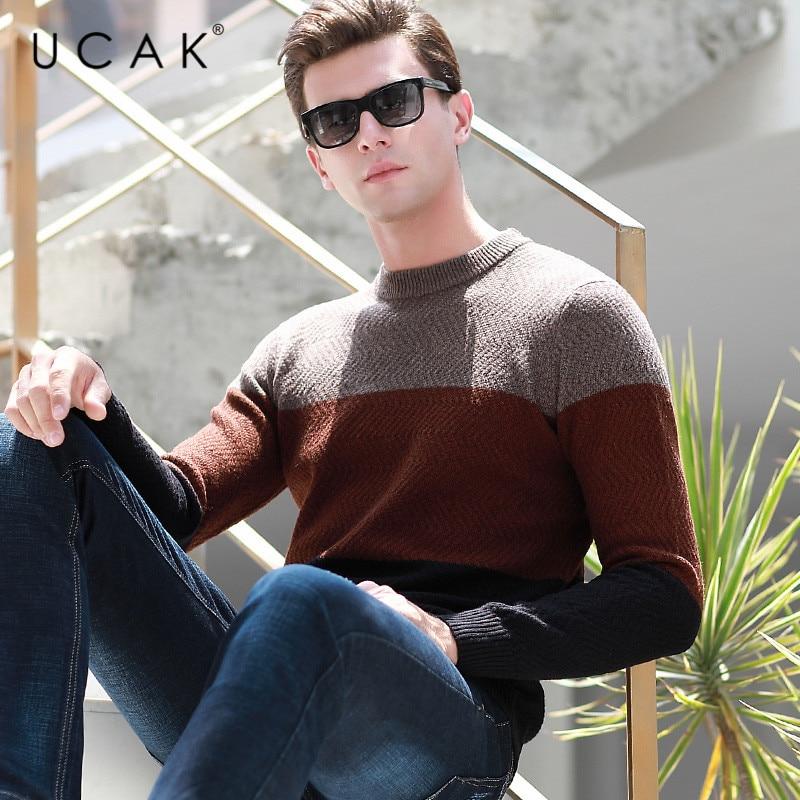 UCAK Brand Sweater Men Autumn Winter Pure Merino Wool Casual Streetwear Pull Homme Fashion Trend O-Neck Striped Sweaters U3141